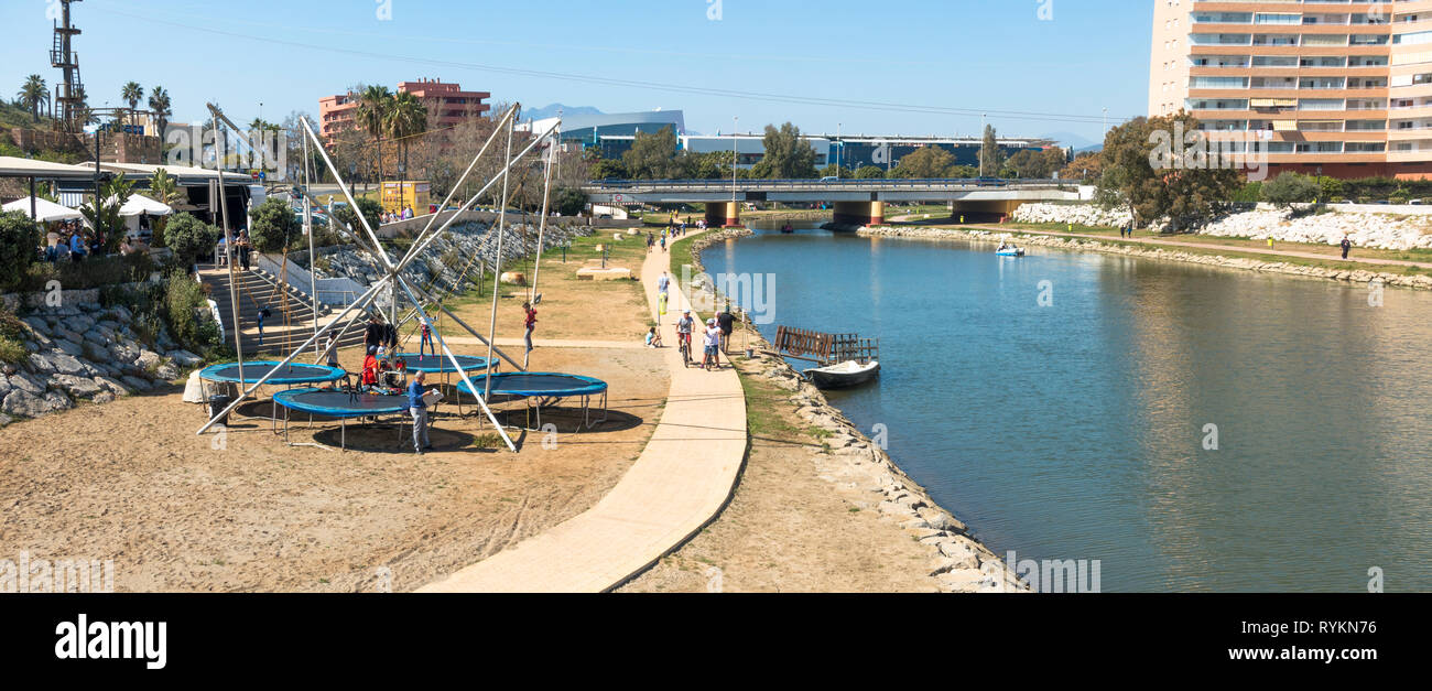People enjoying a sunny day at Fuengirola river, Rio Fuengirola, andalusia, Spain. - Stock Image