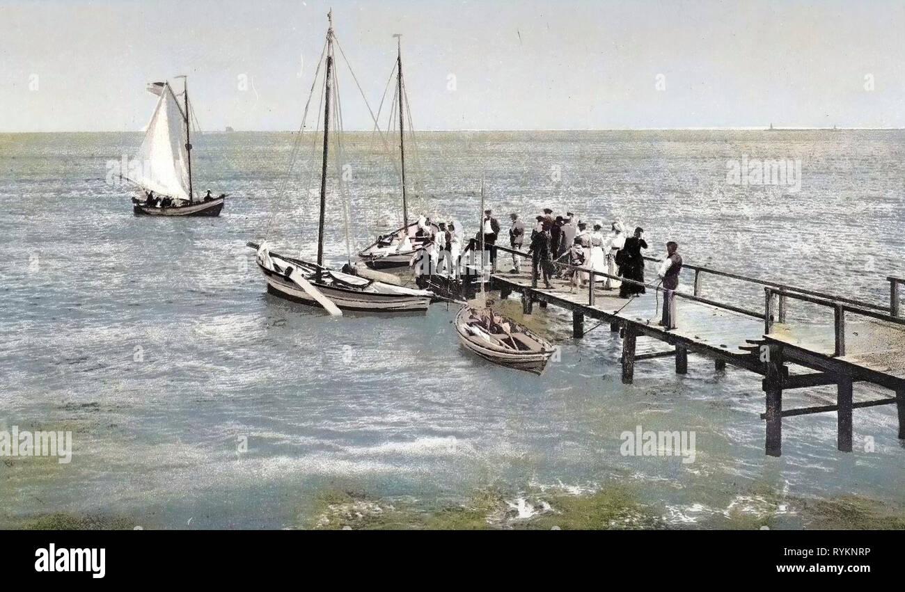 Piers in Poland, Sailboats in Poland, Old, Świnoujście, 1900, West Pomeranian Voivodeship, Swinemünde, Landungsplatz Stock Photo