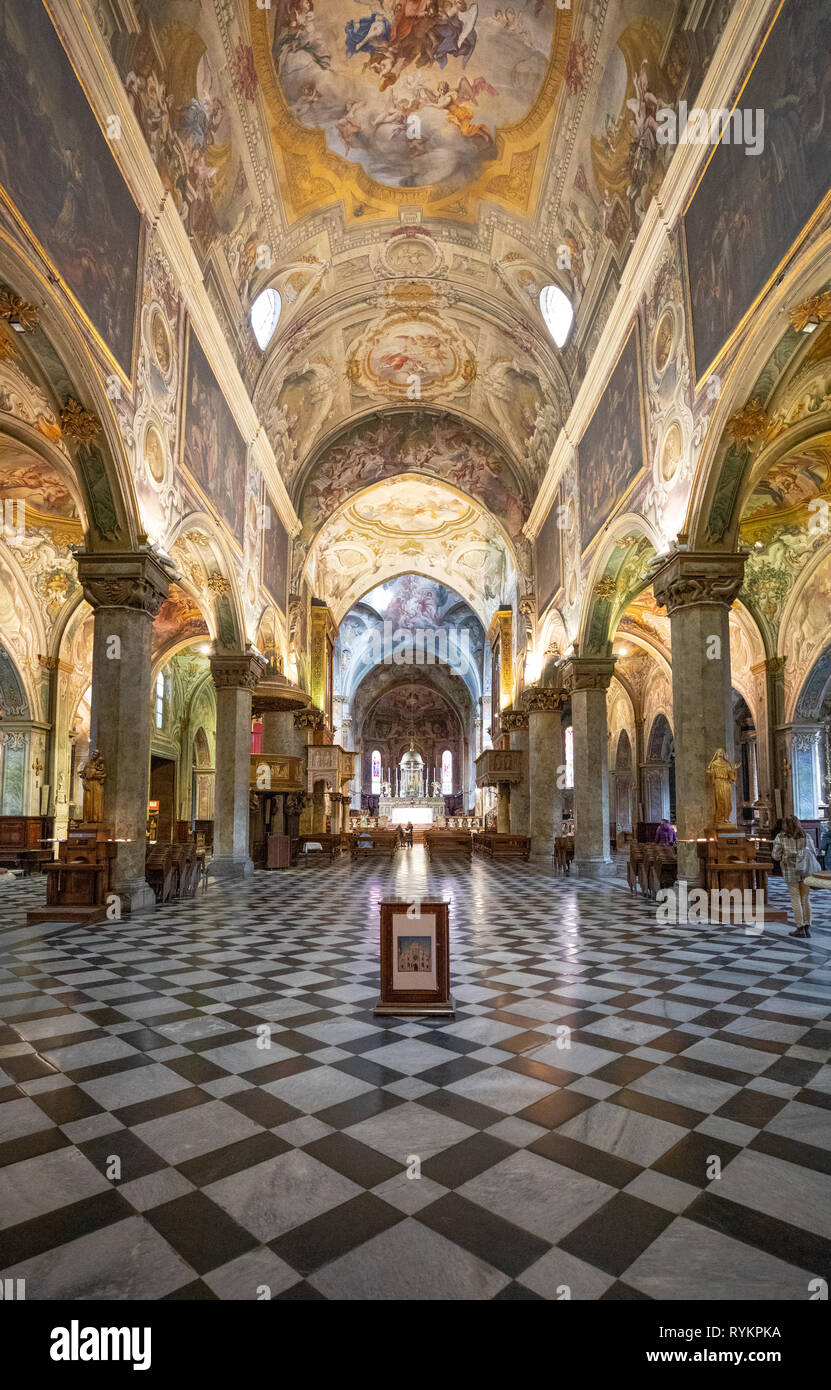 Italy, Monza , The extraordinary paintings and decorations of the nave of the Cathedral - Stock Image