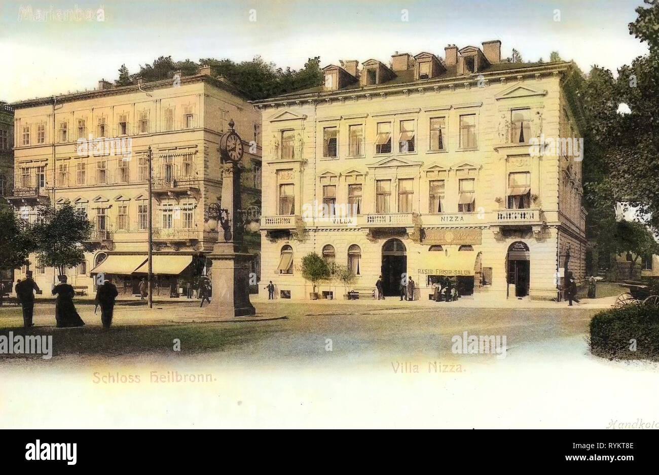 Villas in Mariánské Lázně, 1901, Karlovy Vary Region, Marienbad, Schloß Heilbronn, Villa Nizza, Czech Republic - Stock Image