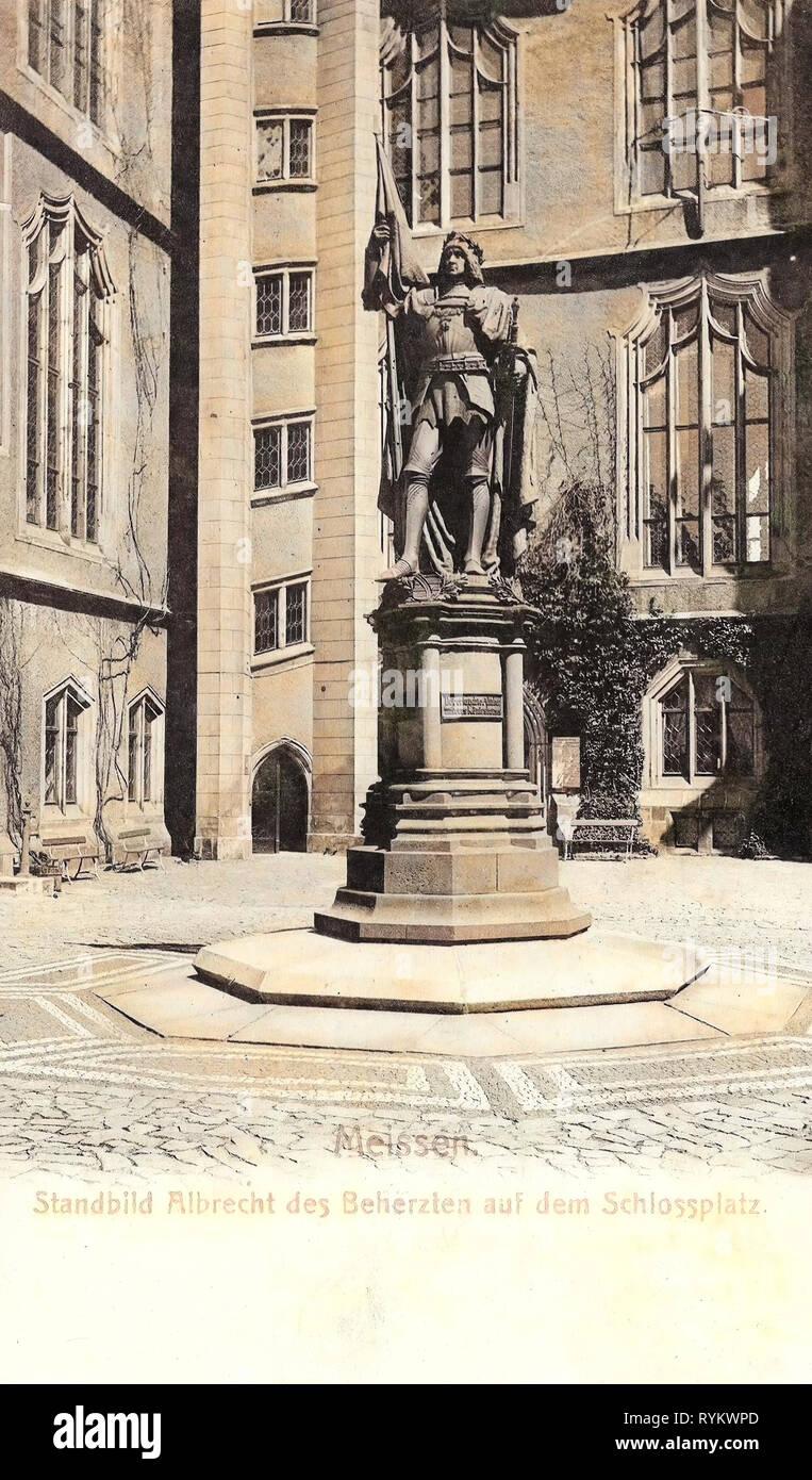 Albert III, Duke of Saxony, Albrechtsburg, 1901, Meißen, Standbild Albrecht der Beherzten, Germany - Stock Image