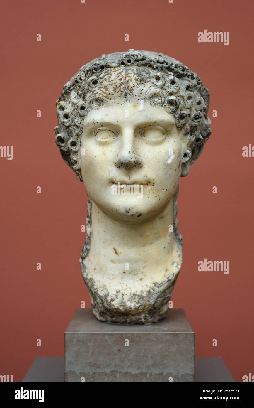 Copenhagen. Denmark. Portrait bust of Roman Empress Agrippina the Younger, Ny Carlsberg Glyptotek.   Iulia Agrippina Augusta (15 AD-59 AD), Empress, D - Stock Image