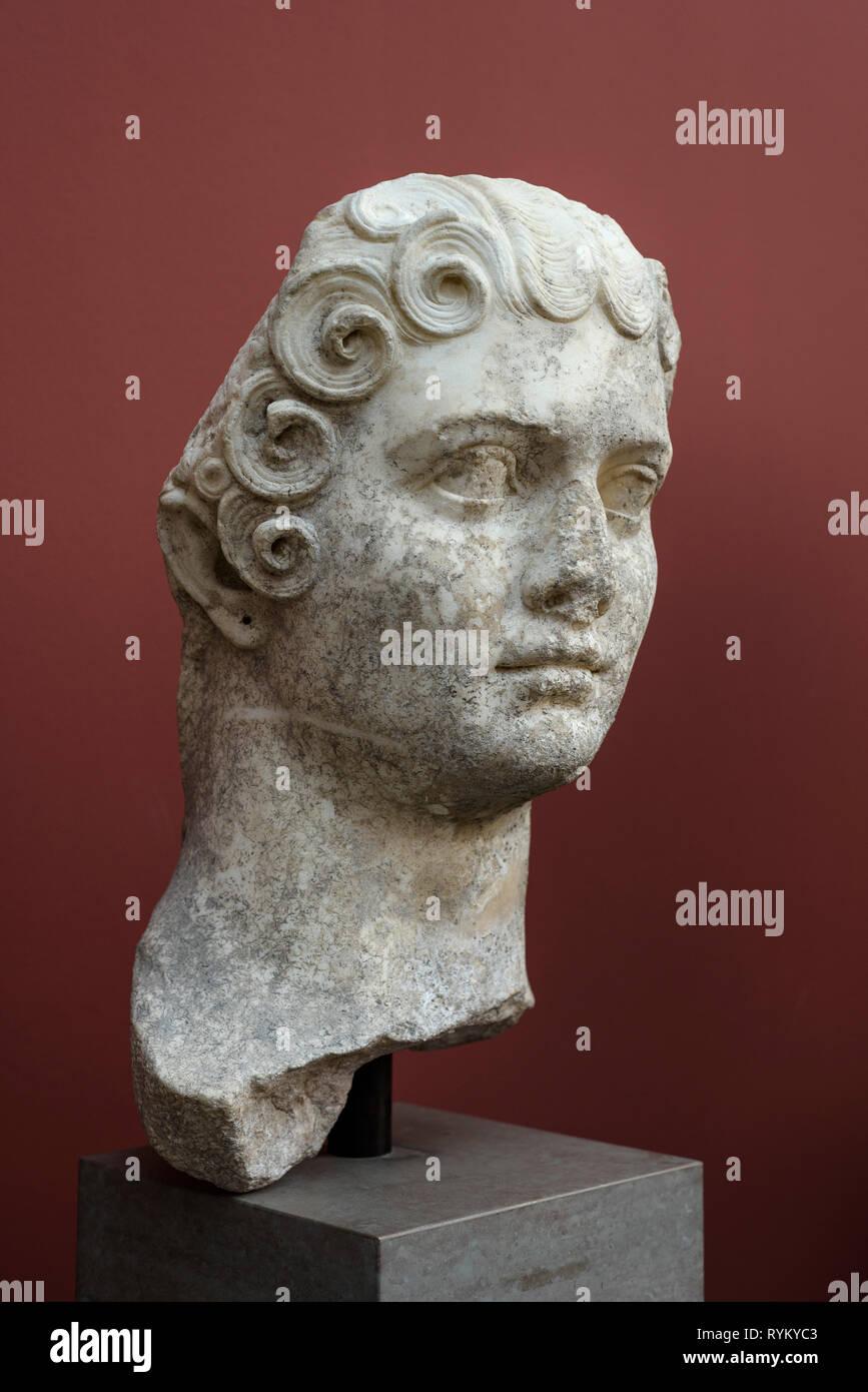 Copenhagen. Denmark. Portrait bust of Flavia Domitilla the Younger, daughter of Emperor Vespasian, Ny Carlsberg Glyptotek.   Flavia Domitilla (ca. 45  - Stock Image