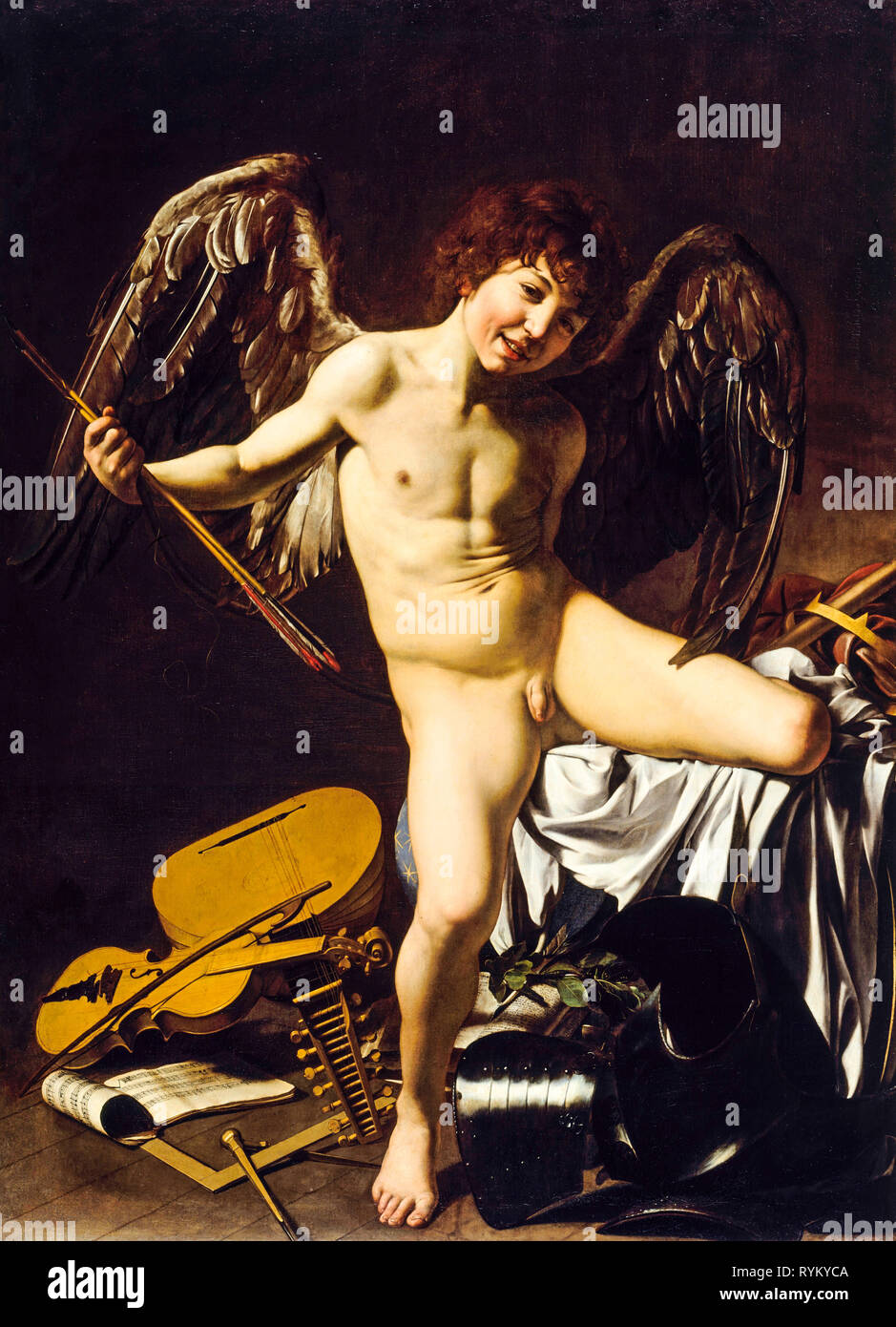 Amor Victorious, Caravaggio, c. 1602, Cupid painting - Stock Image