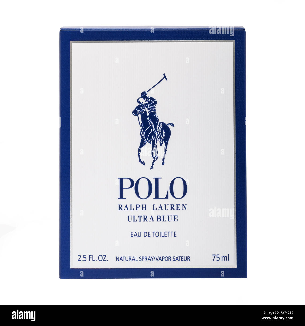 A box of Polo by Ralph Lauren after shave aftershave on a white background - Stock Image