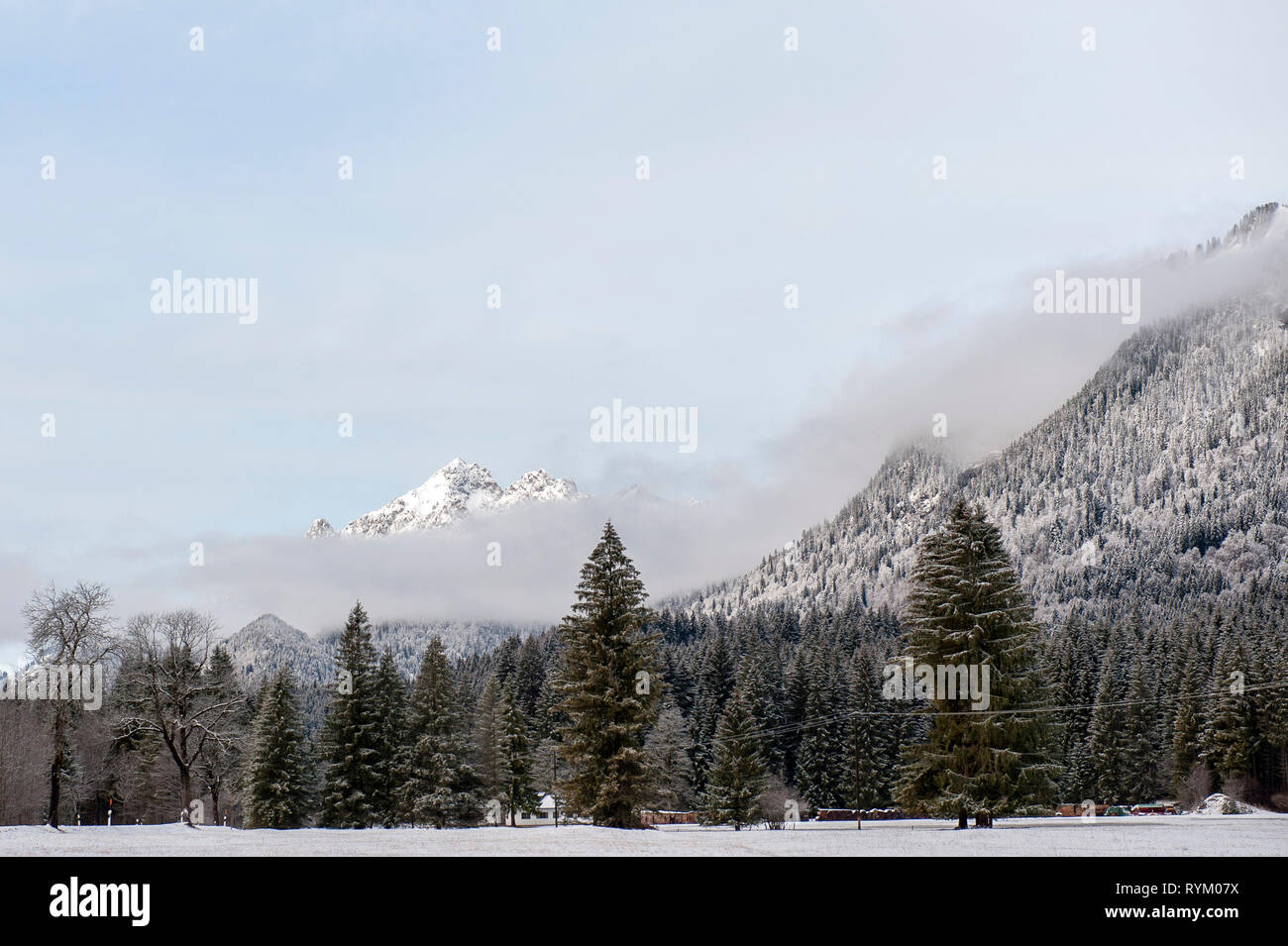 Landscape near Schloss Linderhof, Oberammergau, Upper Bavaria, Germany - Stock Image