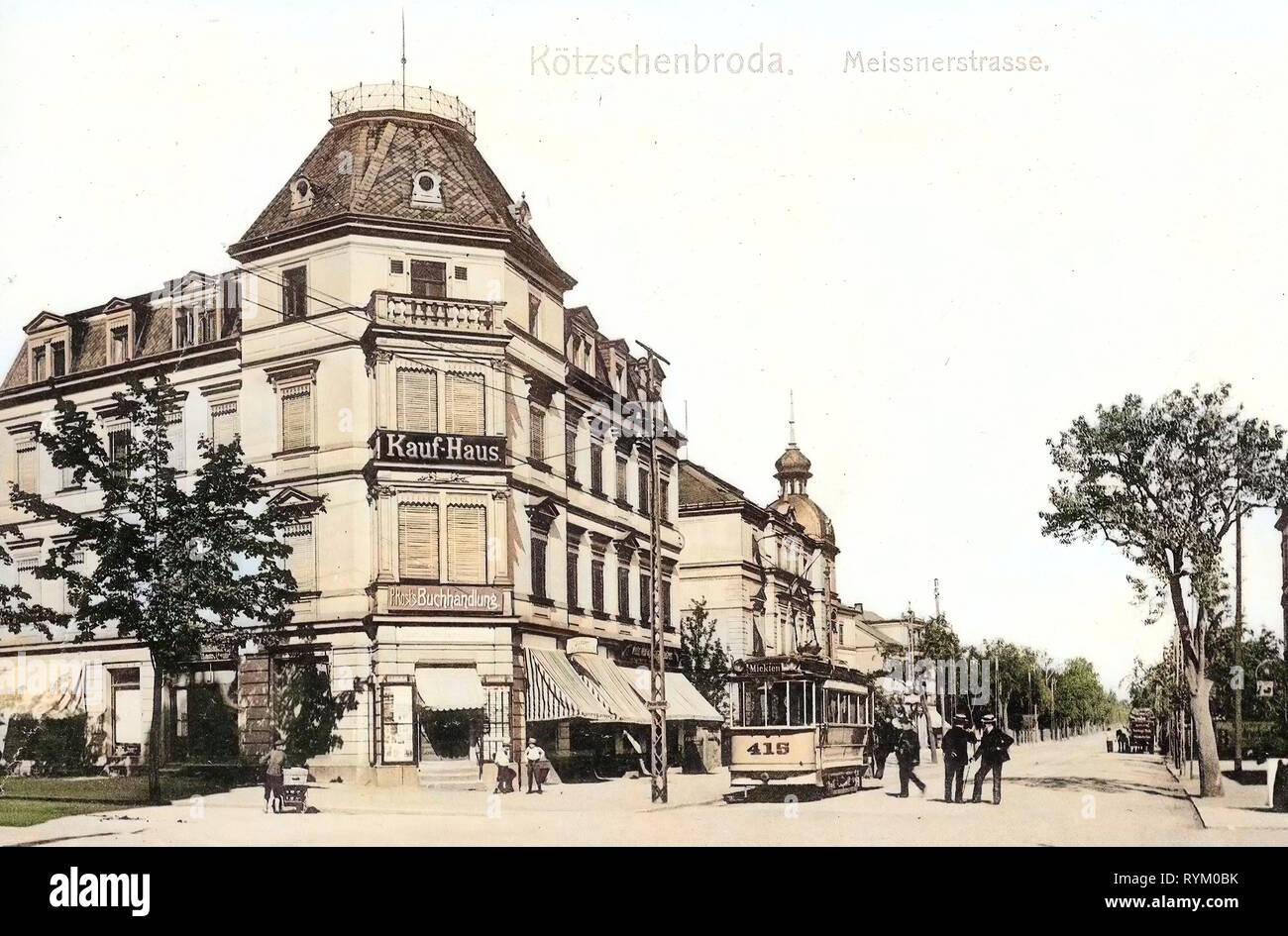 Lößnitzbahn in Radebeul, Number 415 on trams, Wohn- und Geschäftshaus Meißner Straße 268 (Radebeul), Shops in Radebeul, 1906, Landkreis Meißen, Kötzschenbroda, Meißner Straße mit Straßenbahn, Germany - Stock Image