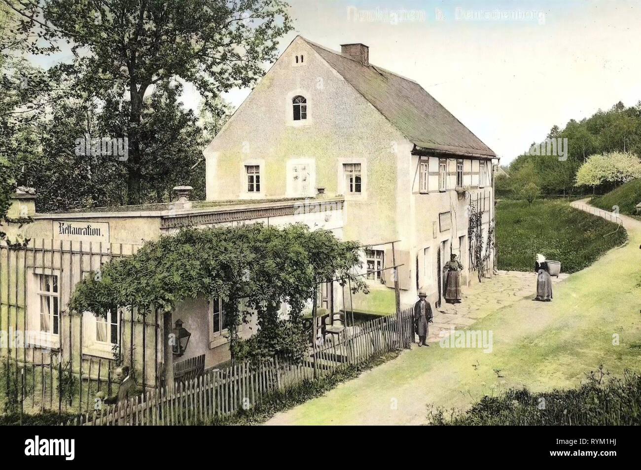 Neukirchen (Reinsberg), Restaurants in Landkreis Meißen, 1906, Landkreis Meißen, Neukirchen, Restauration, Germany - Stock Image