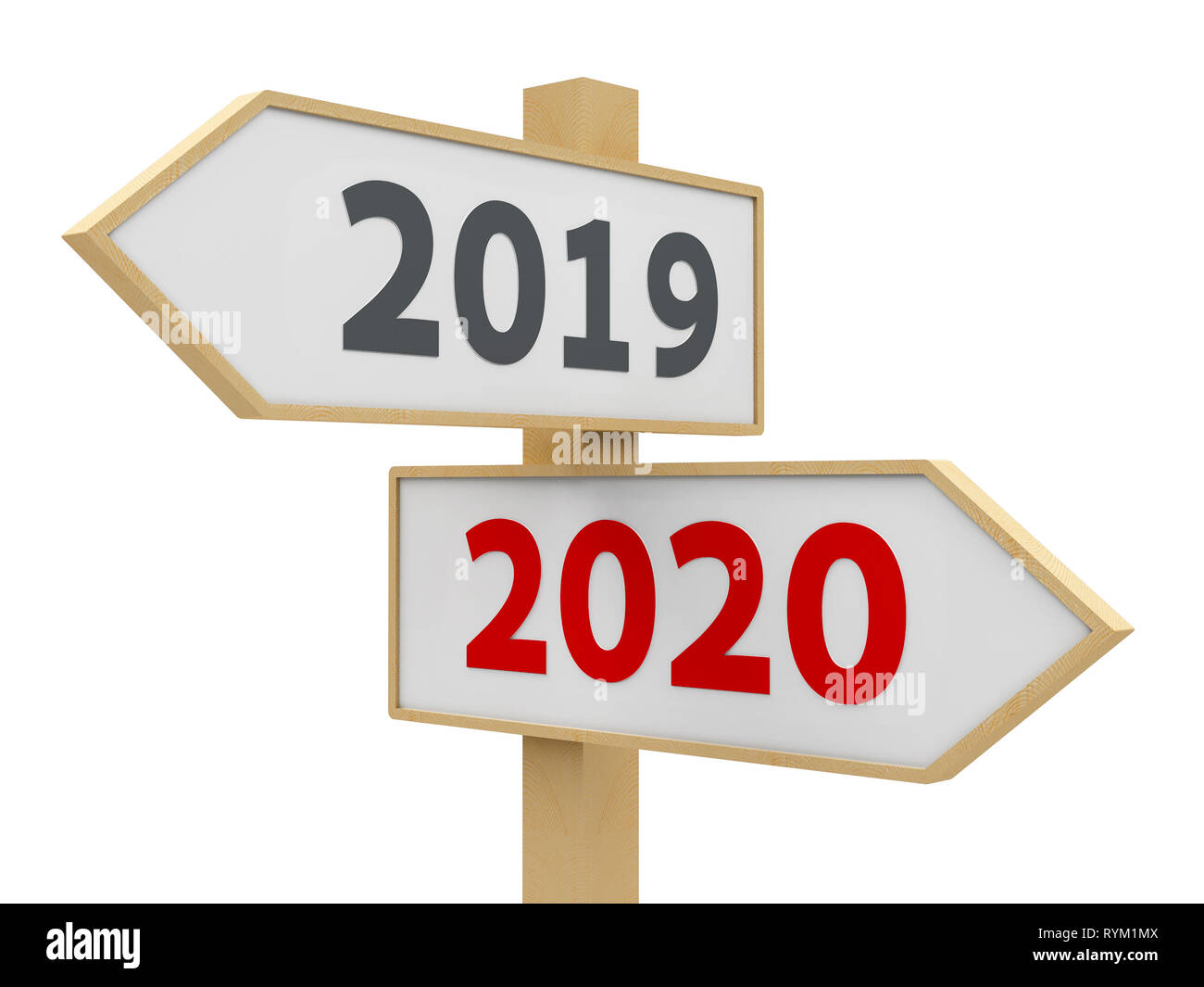 Road sign with 2019-2020 change on white background represents the ...