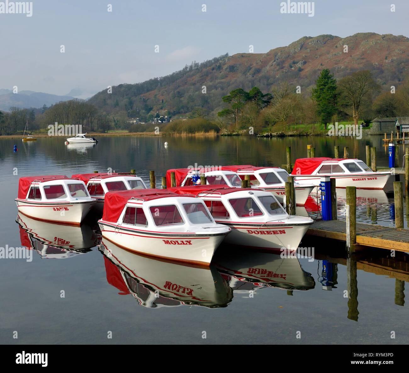 Pleasure boats with names,Ambleside,Lake Windermere,Lake District,Cumbria,England,UK Stock Photo