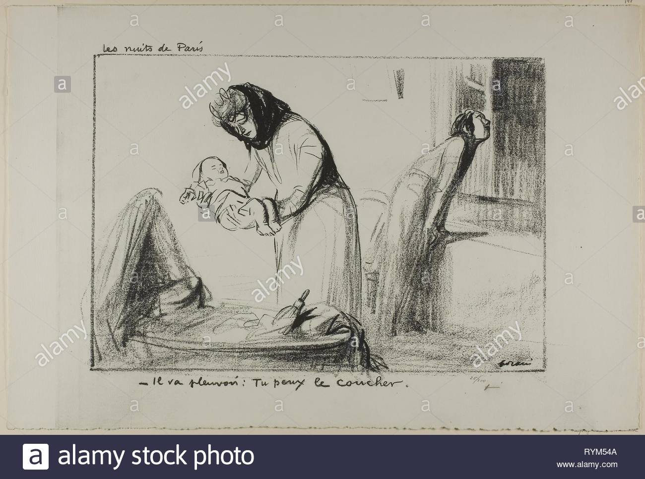 No. 147: Les nuits de Paris. Jean Louis Forain; French, 1852-1931. Date: 1918. Dimensions: 285 × 410 mm (image); 378 × 560 mm (sheet). Line block taken from a drawing on ivory wove paper. Origin: France. Museum: The Chicago Art Institute, Chicago, USA. - Stock Image