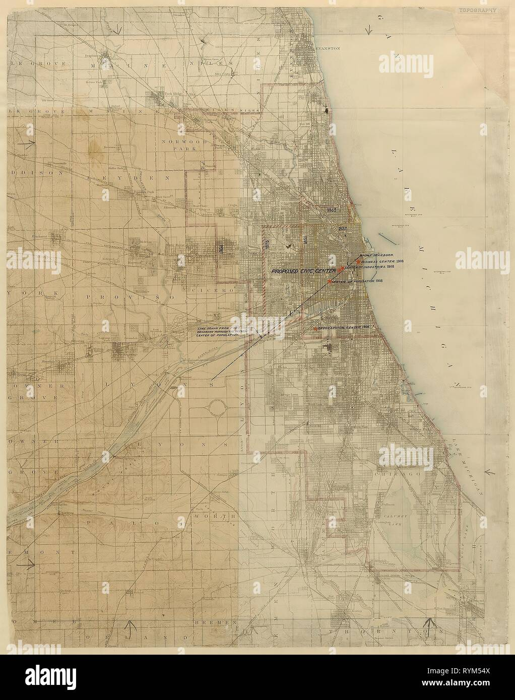 Map Of America Showing Chicago.Plan Of Chicago Chicago Illinois Diagram Showing City Growth