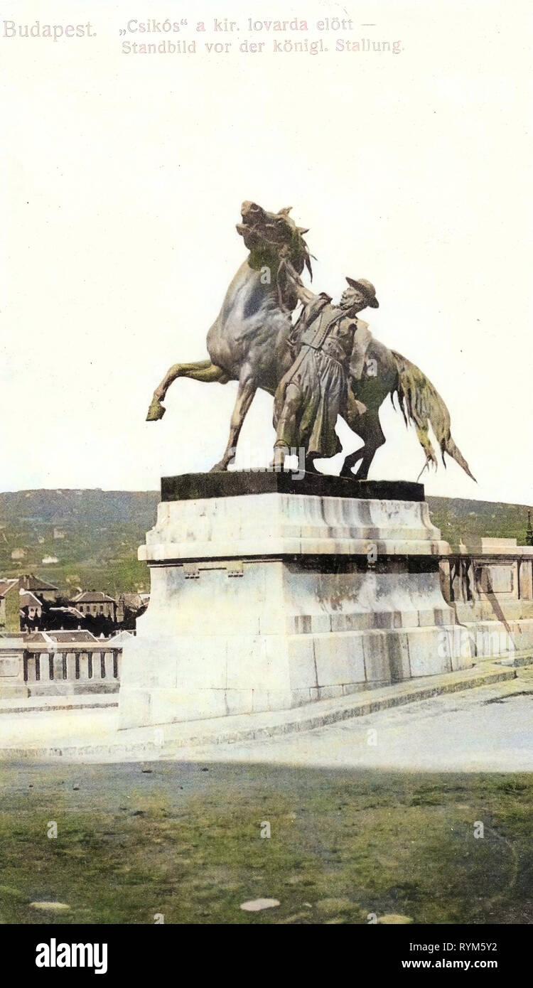 Csikós statue, 1903 in Budapest, Budapest, 1903, Standbild von der königlichen Stallung, Hungary - Stock Image