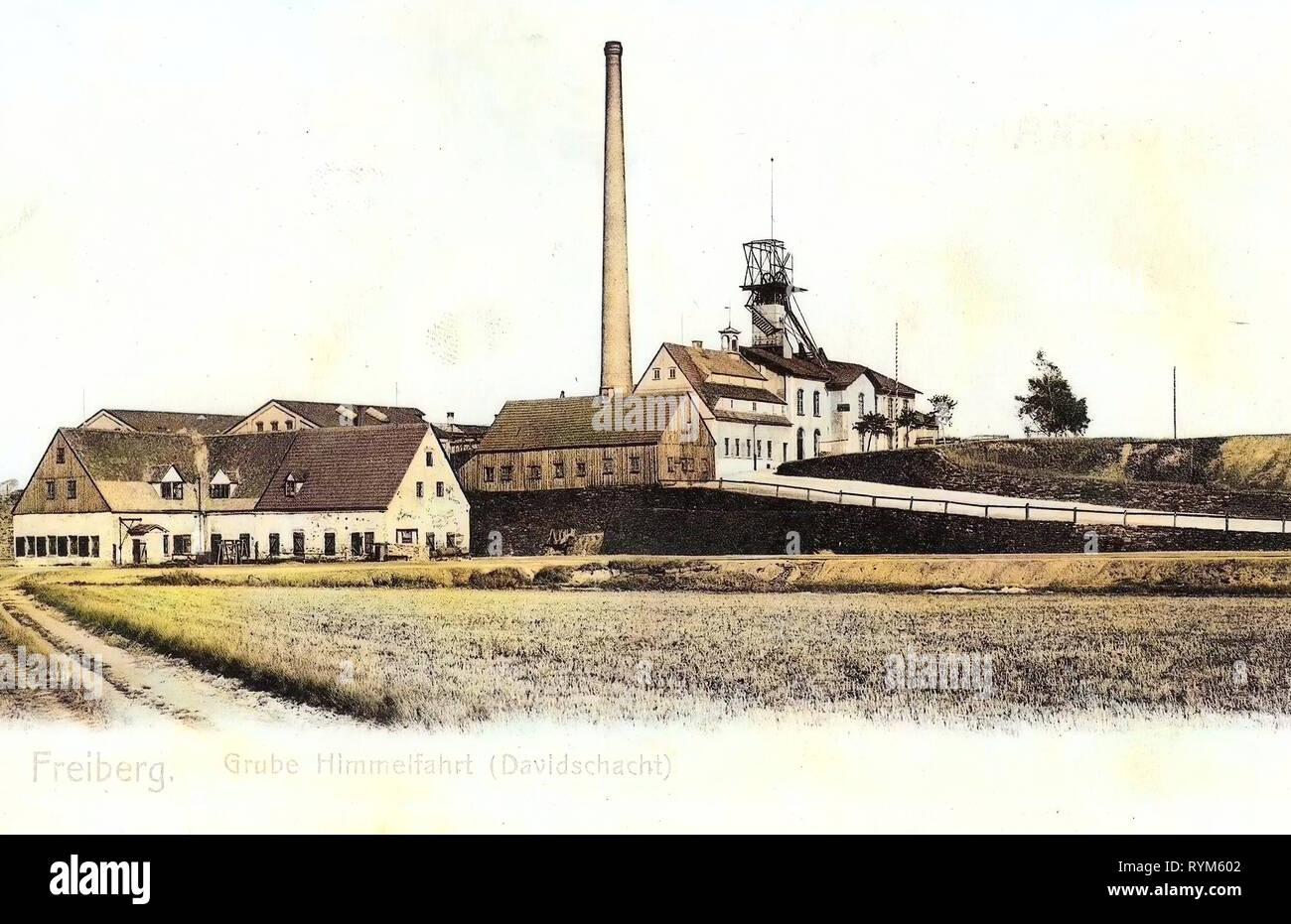 Industry in Saxony, 1903, Landkreis Mittelsachsen, Freiberg, Grube Himmelfahrt, Davidschacht, Germany - Stock Image