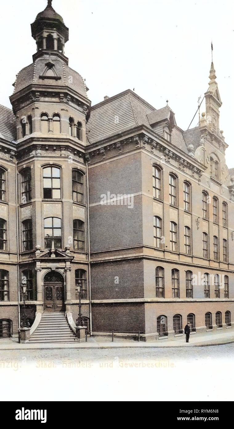 Schools in Gdańsk, 1903, Pomeranian Voivodeship, Danzig, Städtische Handels, und Gewerbeschule - Stock Image