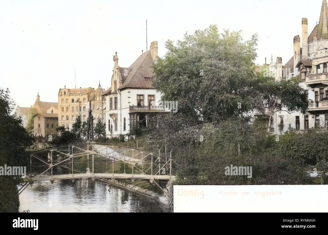 Hedge mazes in Poland, Bridges in Gdańsk, 1903, Pomeranian Voivodeship, Danzig, am Irrgarten - Stock Image