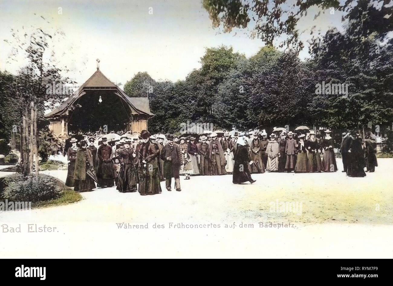 Concerts in Germany, 1903, Vogtlandkreis, Bad Elster, Frühkonzert auf dem Badeplatz - Stock Image