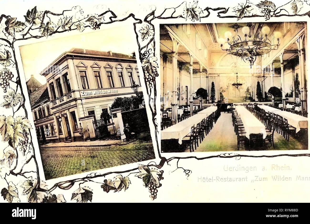 Restaurants in North Rhine-Westphalia, Multiview postcards, Rooms in Germany, Uerdingen, 1903, North Rhine-Westphalia, Restaurant zum wilden Mann - Stock Image