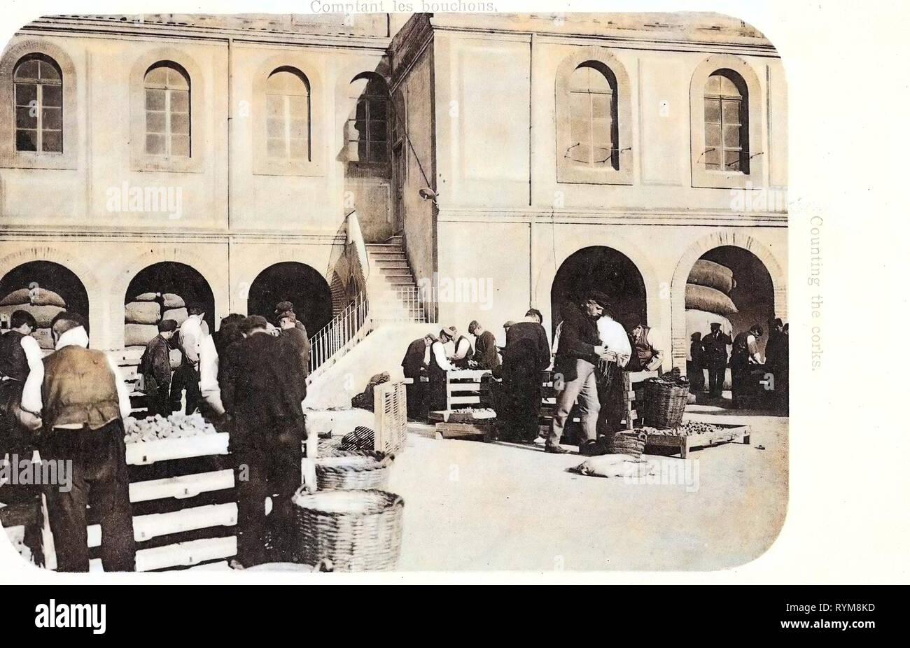 Cork (material), Unidentified locations in Spain, 1903 postcards, 1903, Cortando los tapones, Zählen der Korke - Stock Image