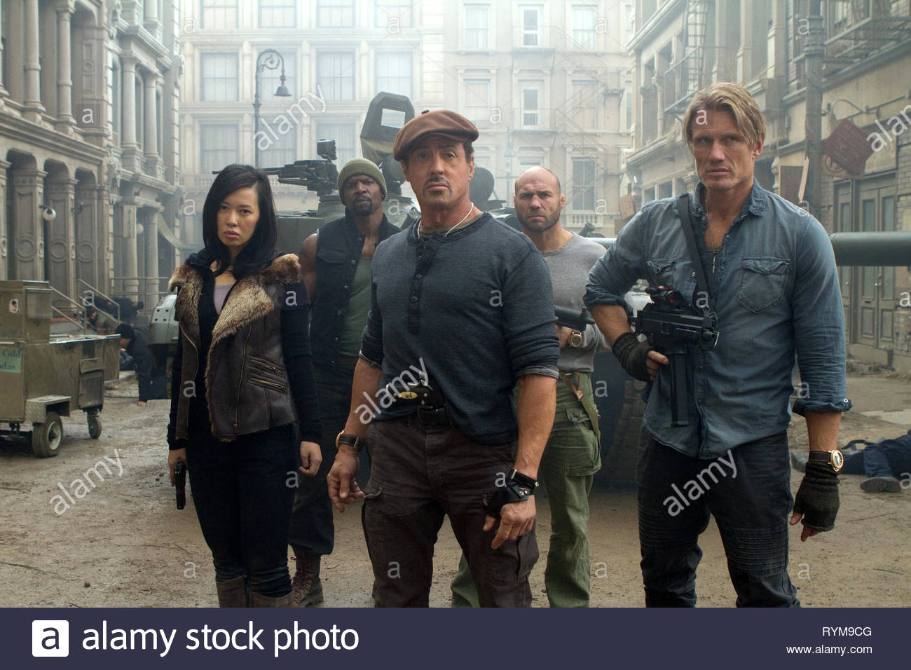 YU,CREWS,STALLONE,COUTURE,LUNDGREN, THE EXPENDABLES 2, 2012 - Stock Image