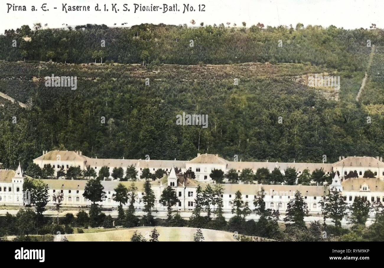 Military in Pirna, 1. Königlich Sächsisches Pionier-Bataillon Nr. 12, 1905, Landkreis Sächsische Schweiz-Osterzgebirge, 1905 in Pirna, Hohe Straße, Pirna, Demolished buildings in Pirna, Dr. Friedrichs Höhe, Kohlberg (Hill), Rottwerndorfer Straße, Kaserne des 1. Königlich Sächsischen Pionier, Bataillon Nr. 12, Germany - Stock Image