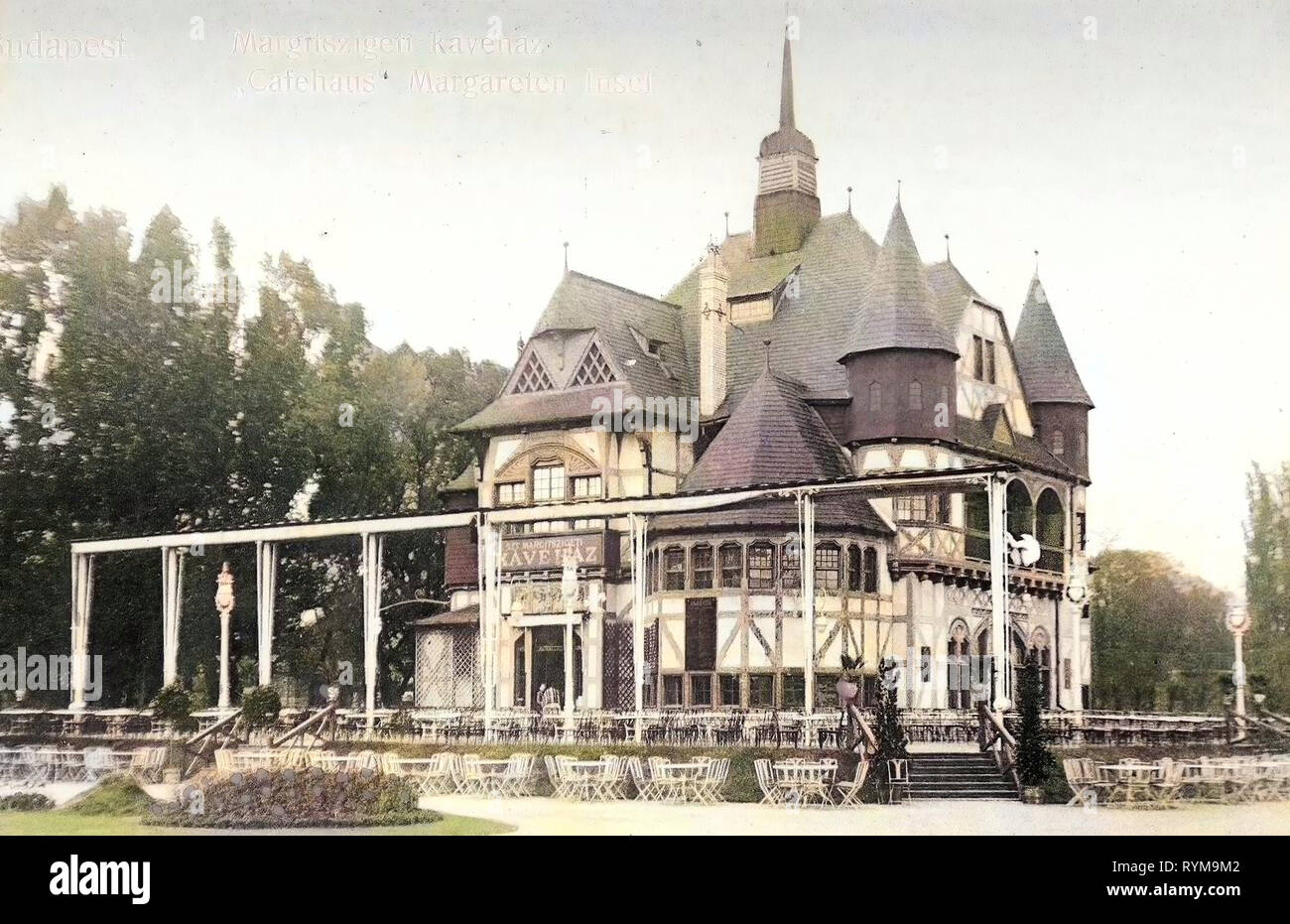 Cafés in Budapest, Margaret Island, 1905, Budapest, Cafehaus Margareteninsel, Hungary Stock Photo