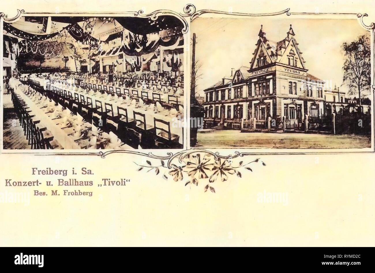 Dining rooms in Germany, 1906, Landkreis Mittelsachsen, Freiberg, Concert, und Ballhaus Tivoli Innen, und Außenansicht - Stock Image
