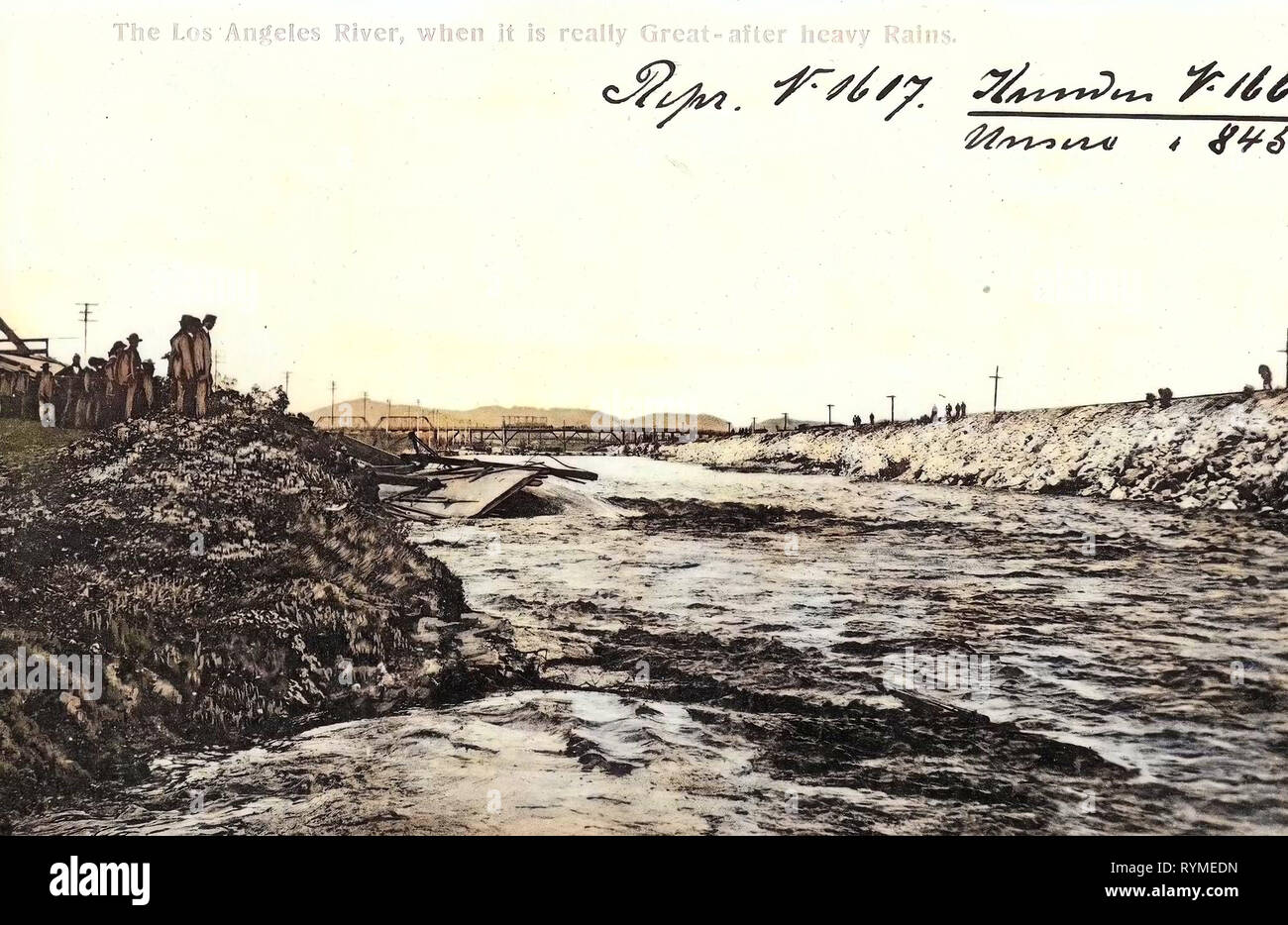 Rivers of California, 1906, California, Kalifornien, The Los Angeles River, when it is really great, after heavy rains', United States of America - Stock Image