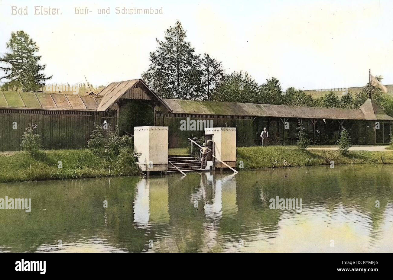 Baths in Saxony, Bad Elster (Gondelteich), 1907, Vogtlandkreis, Bad Elster, Luft & Schwimmbad, Germany - Stock Image