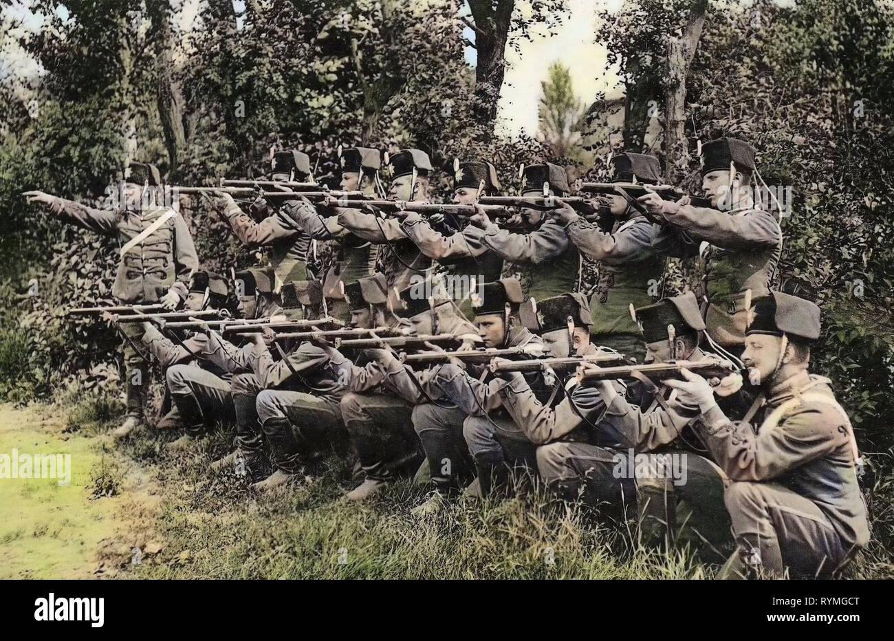 1. Königlich Sächsisches Husaren-Regiment König Albert Nr. 18, Hussars of Germany, Use of weapons, 1907, Landkreis Meißen, Großenhain, 1. Königlich Sächsisches Husaren, Regiment König Albert Nr. 18 Gefecht zu Fuß - Stock Image