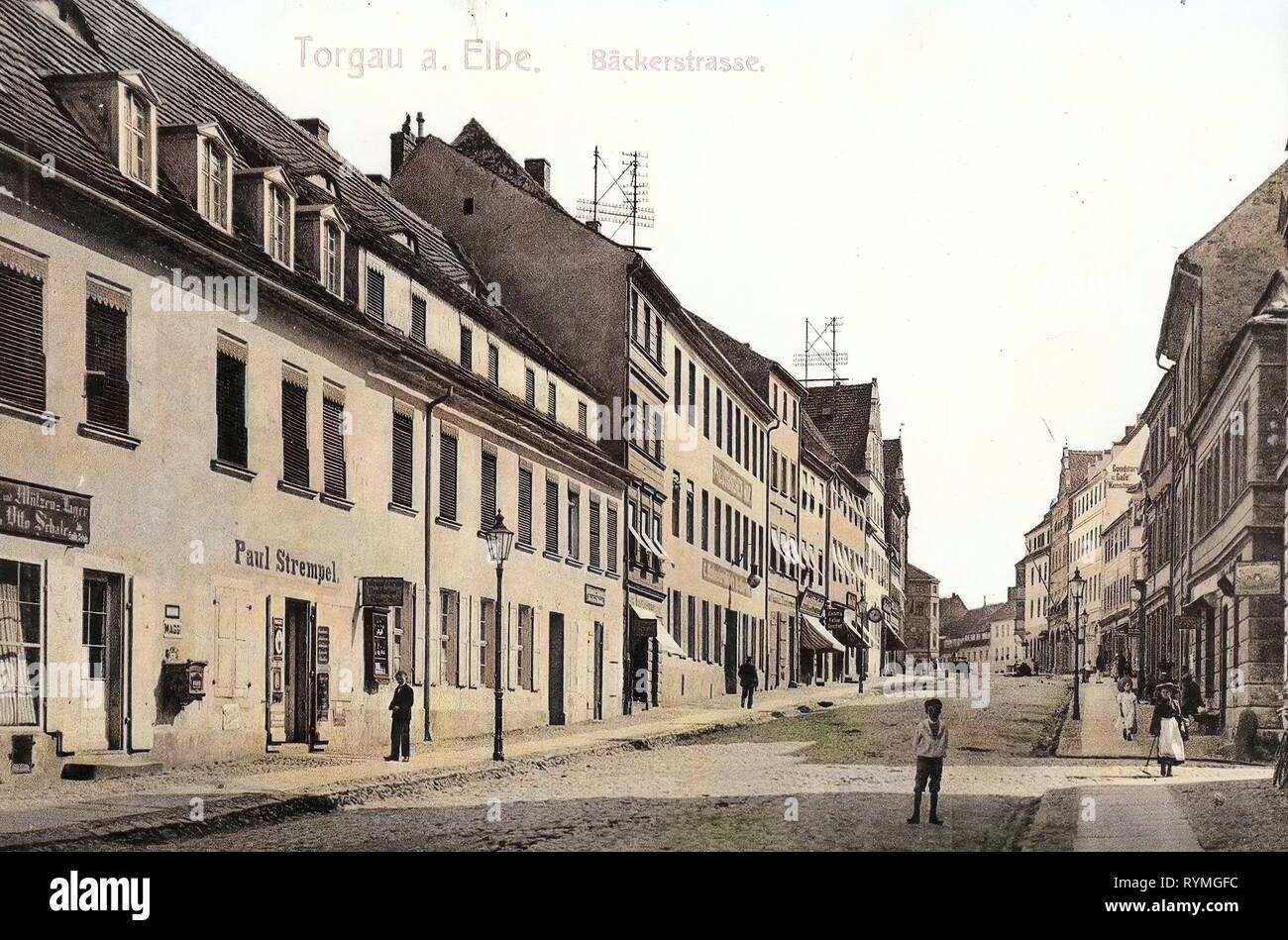 Buildings in Torgau, 1908, Landkreis Nordsachsen, Torgau, Bäckerstraße, Germany Stock Photo