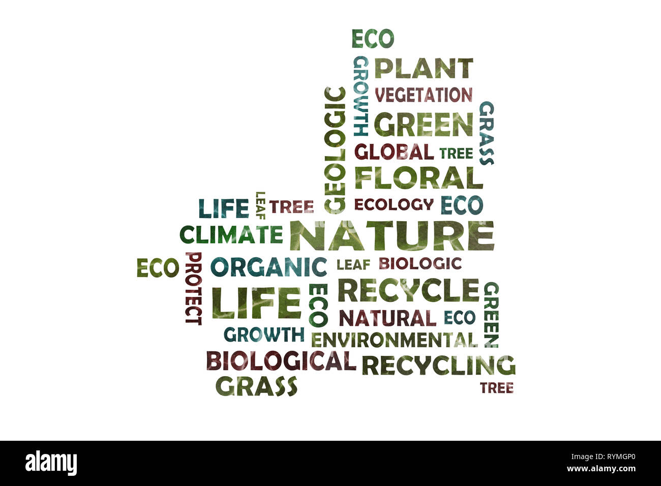 Word cloud to the main keyword nature - cut out of an ivy leaf photographed in close-up - Stock Image