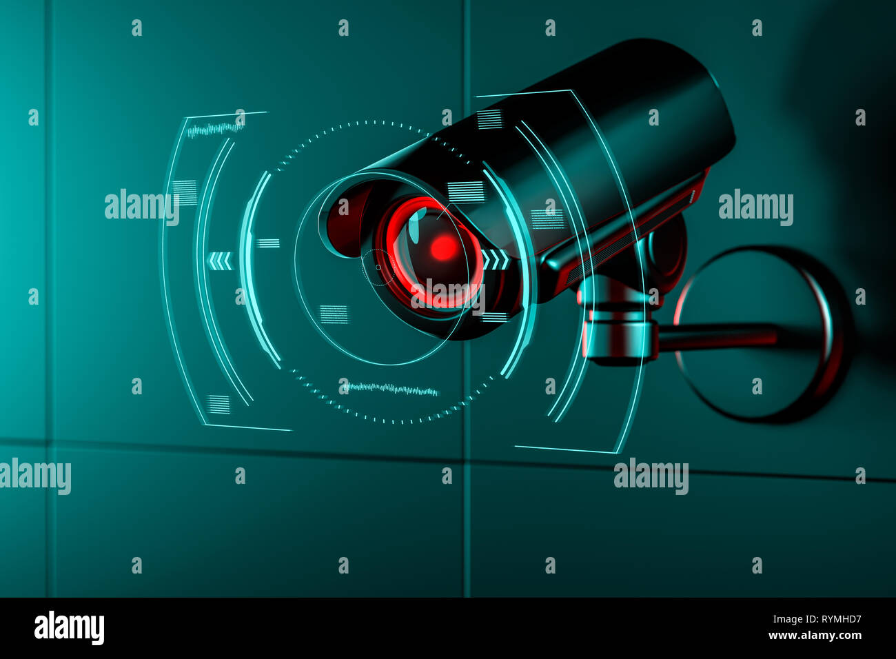 Surveillance camera on wall with some kind of futuristic interface or HUD concept around its lens as it gathers data. 3D rendering - Stock Image