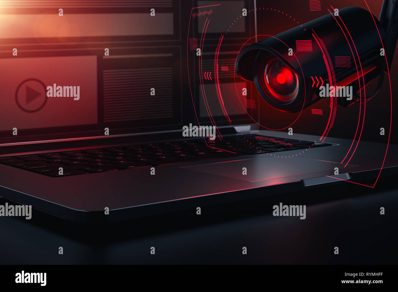 Red camera eye scanning computer for passwords, sensible