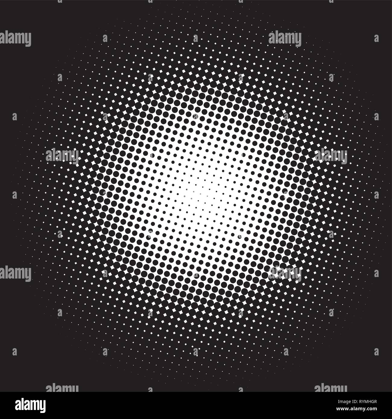 Color halftone gradient circle white on a black background - Stock Image