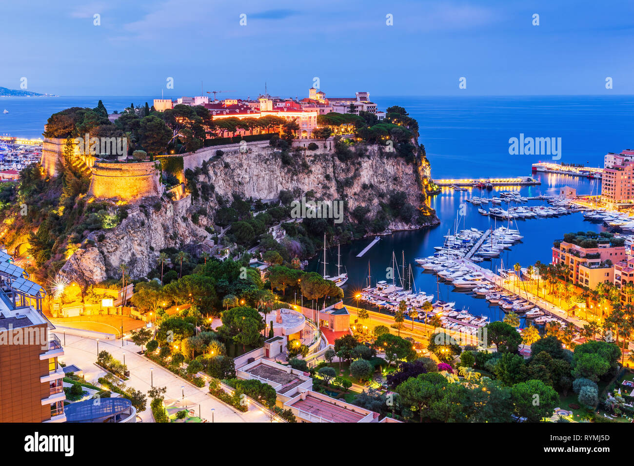 Monaco. Panoramic view of prince's palace in Monte Carlo. - Stock Image
