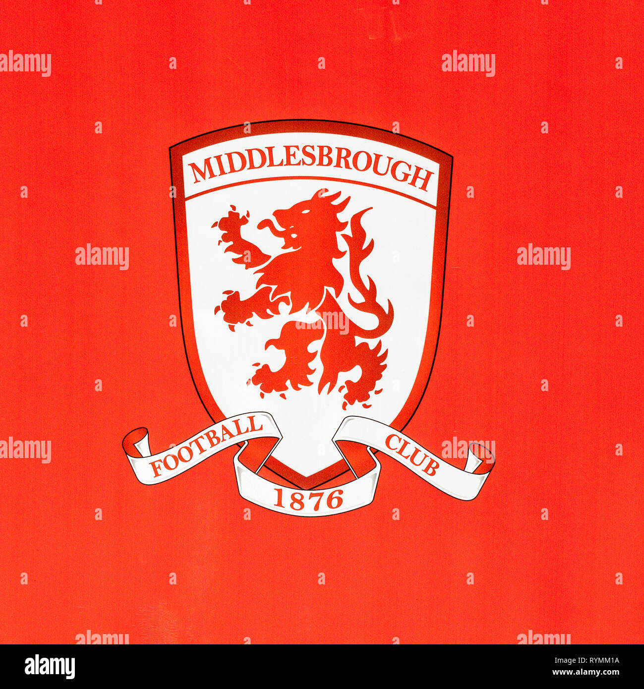 The Middlesbrough Footbal Club badge outside the stadium at Middlesbrough, England,UK - Stock Image