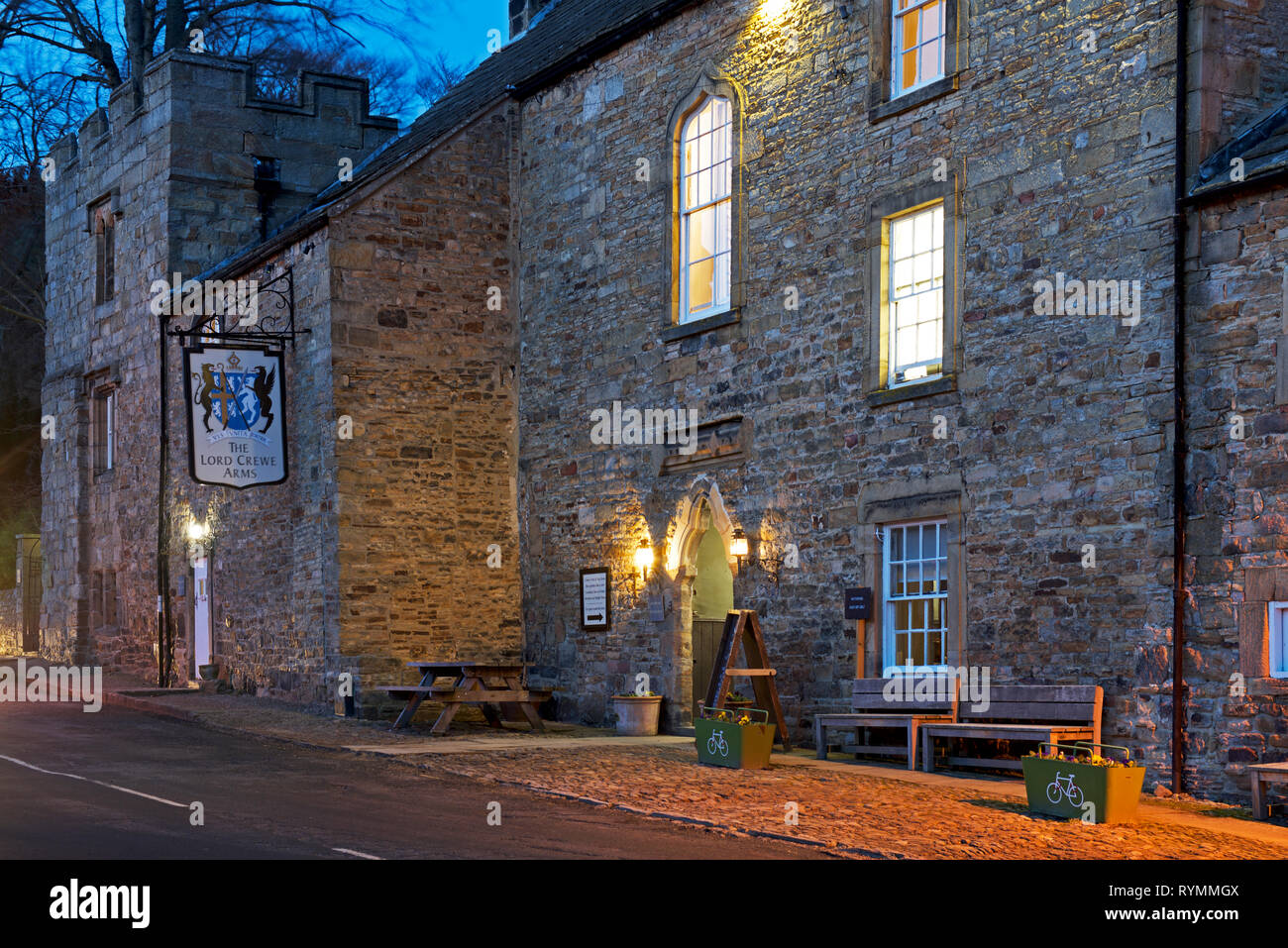 The Lord Crewe Arms at dusk, Blanchland, Northumberland, England UK - Stock Image