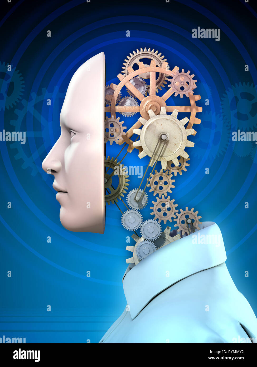 Gear mechanism as a metaphor of the inner working of the human mind. 3D illustration. - Stock Image