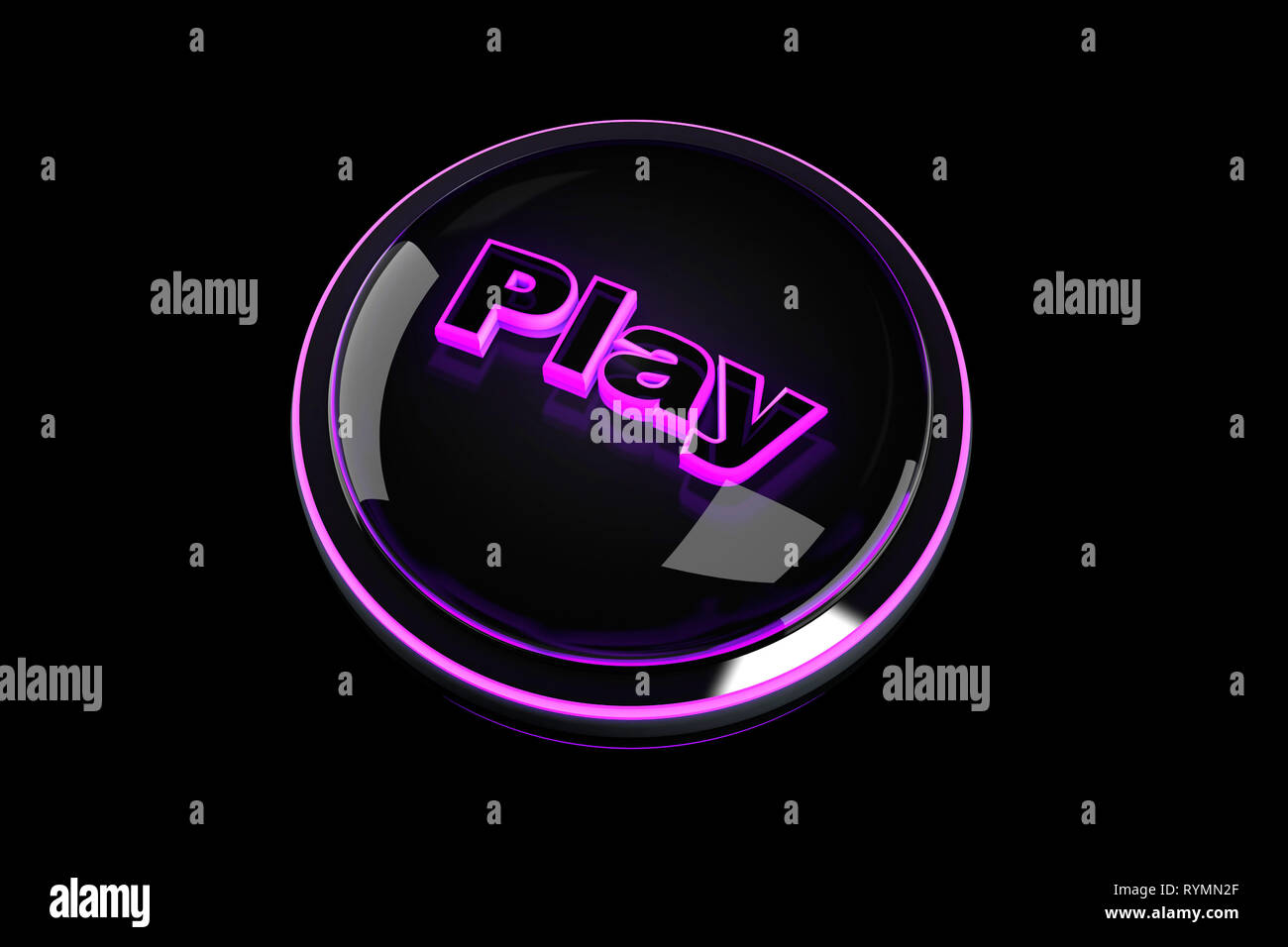 3D rendered Illustration of a Play Pushbutton. - Stock Image