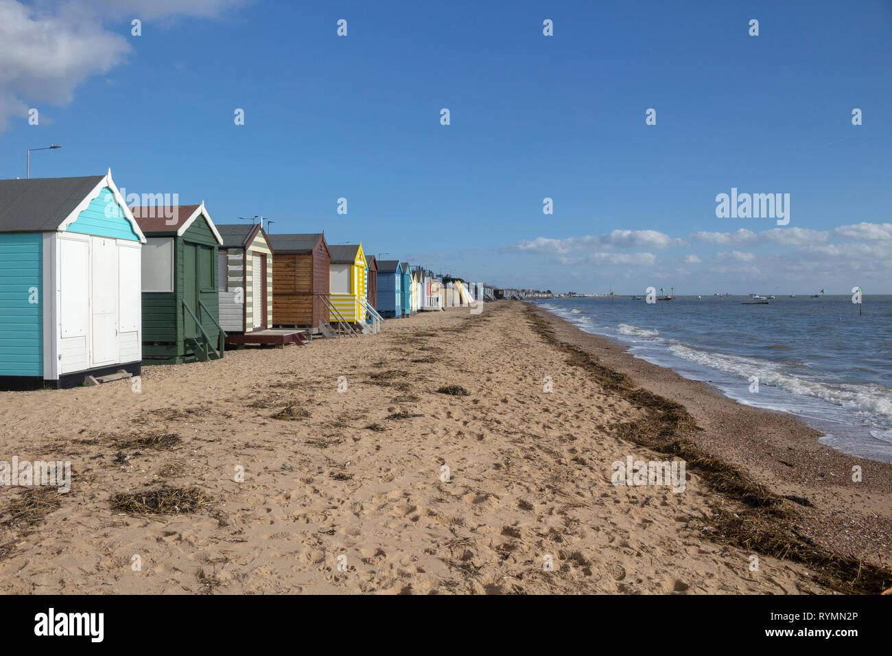 Thorpe Bay beach, near Southend-on-Sea, Essex, England - Stock Image