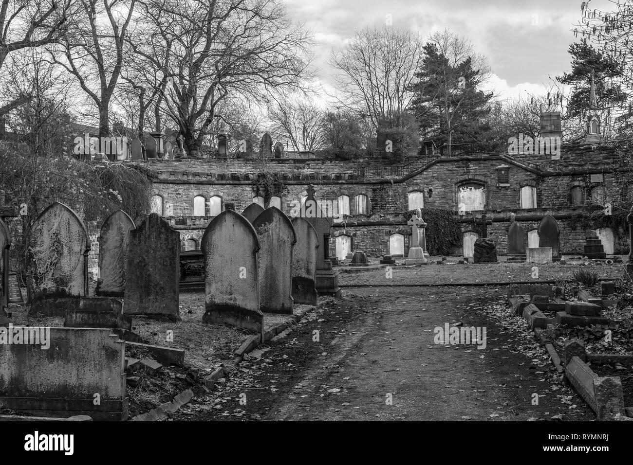 Catacombs at Warstone Lane Cemetery, Jewellery Quarter, Birmingham UK - Stock Image