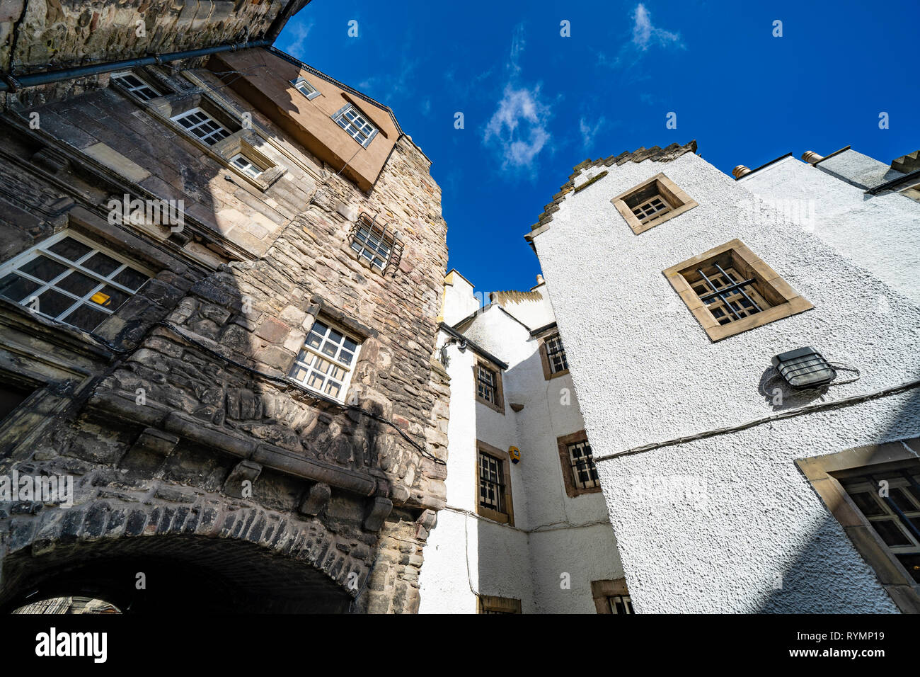View of Bakehouse Close on Royal Mile in Edinburgh, Scotland UK. Location of Outlander as fictional Carfax Close. Scotland ,UK - Stock Image