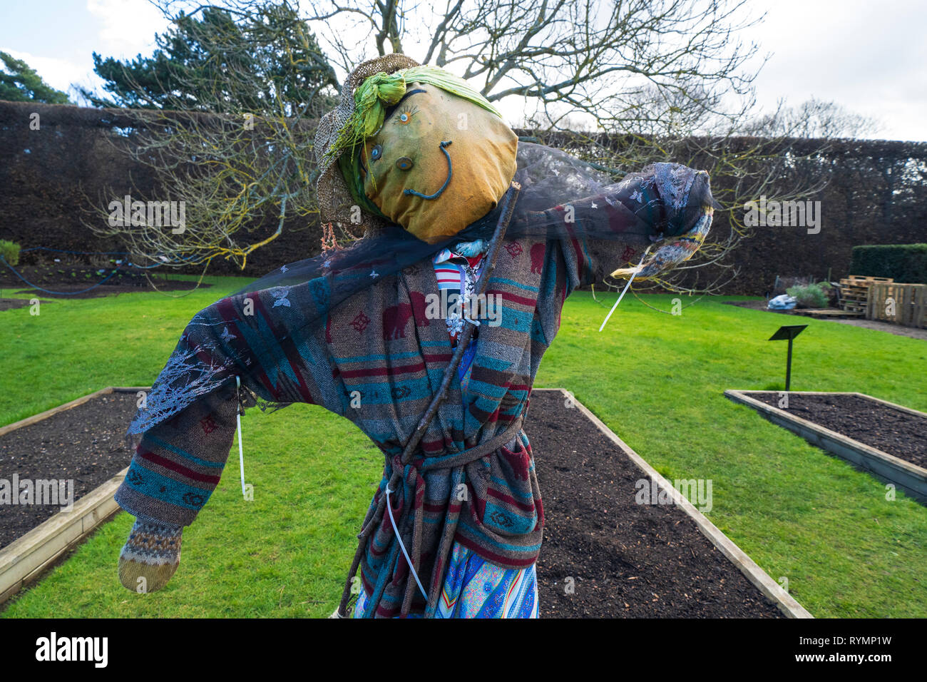 Scarecrow in Royal Botanic Garden Edinburgh, Scotland UK - Stock Image