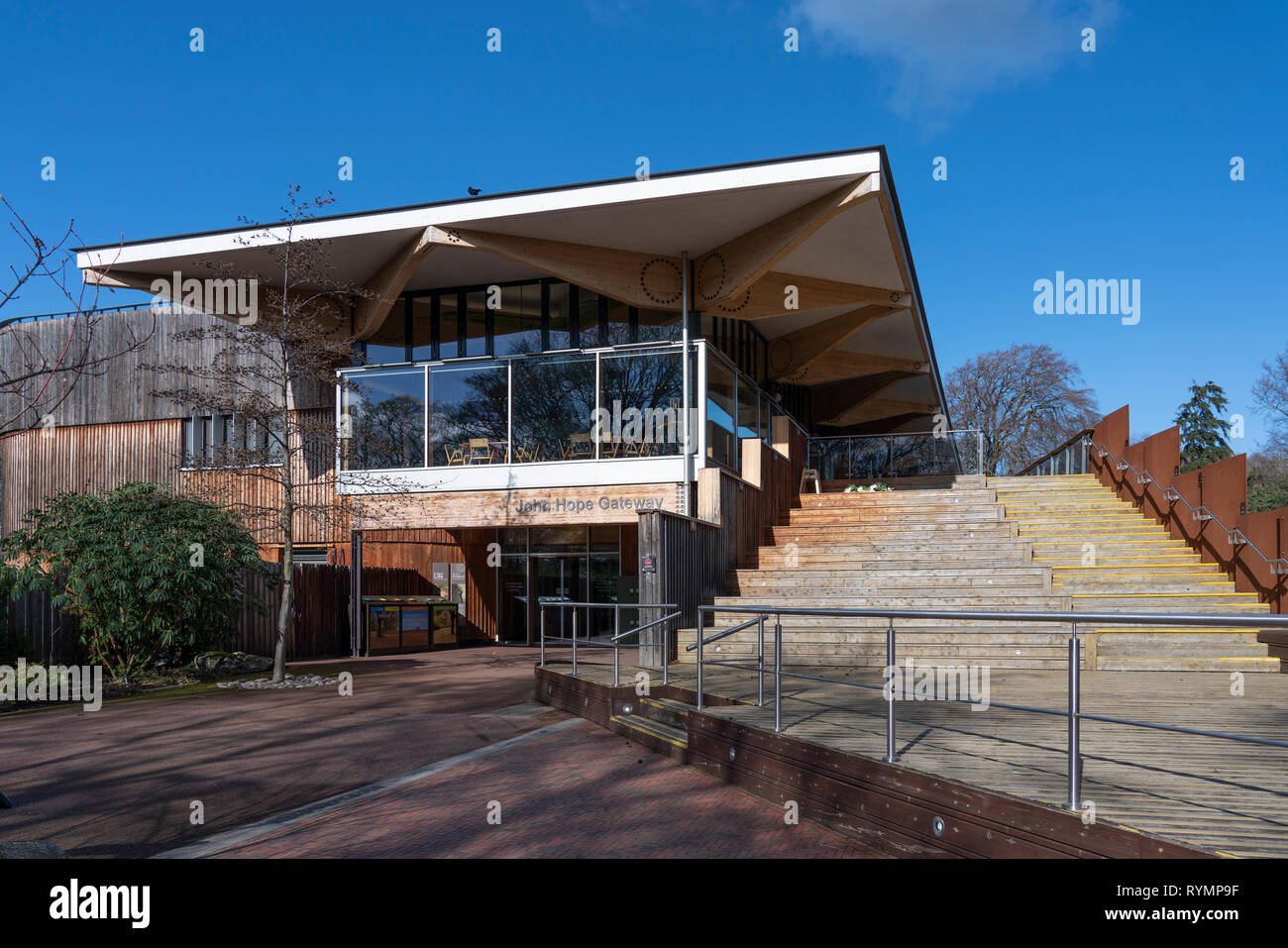 John Hope Gateway visitor centre at Royal Botanic Garden Edinburgh, Scotland, UK - Stock Image