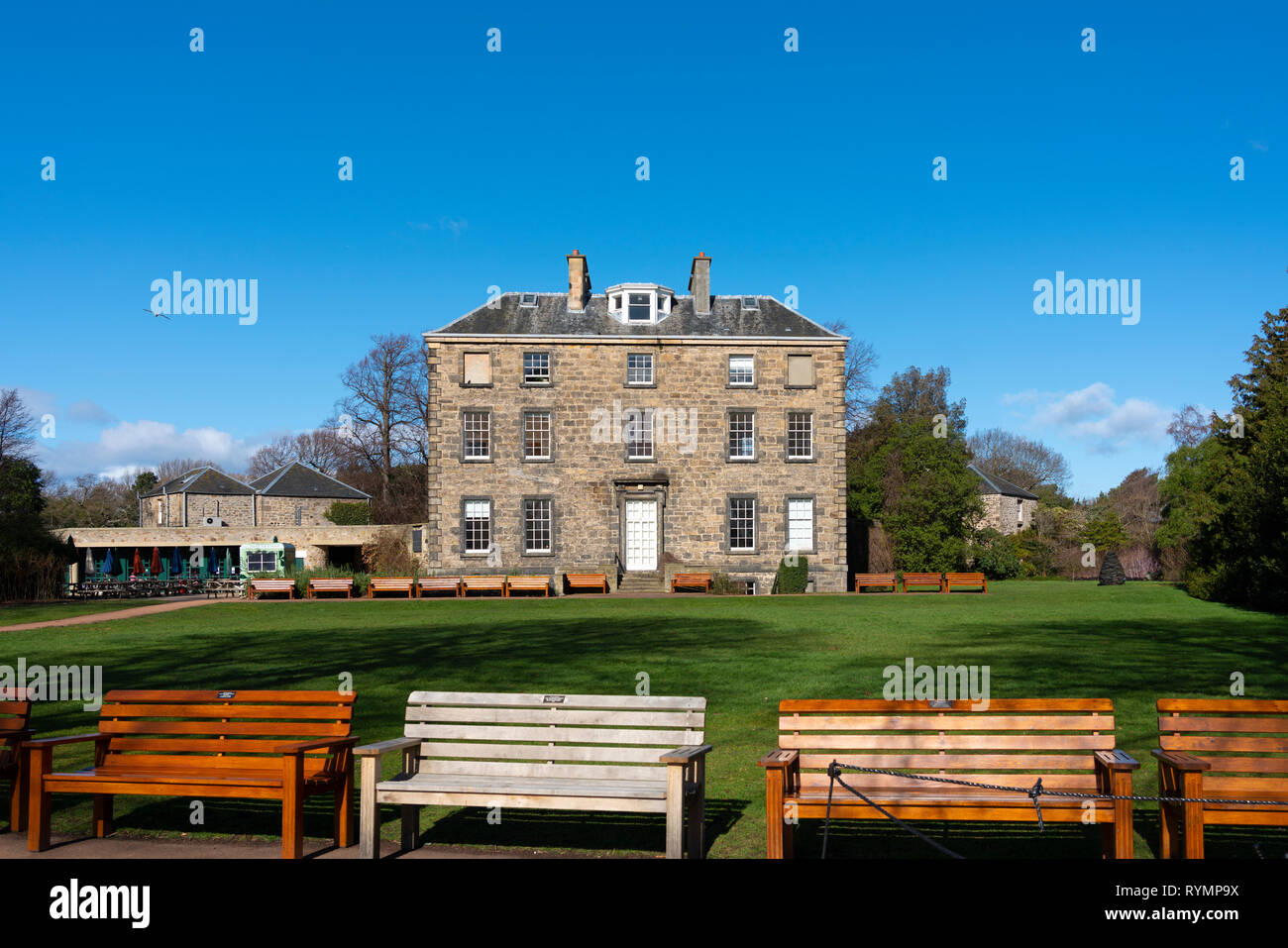 Exterior view of Inverleith House in Royal Botanic Garden Edinburgh, Scotland UK - Stock Image