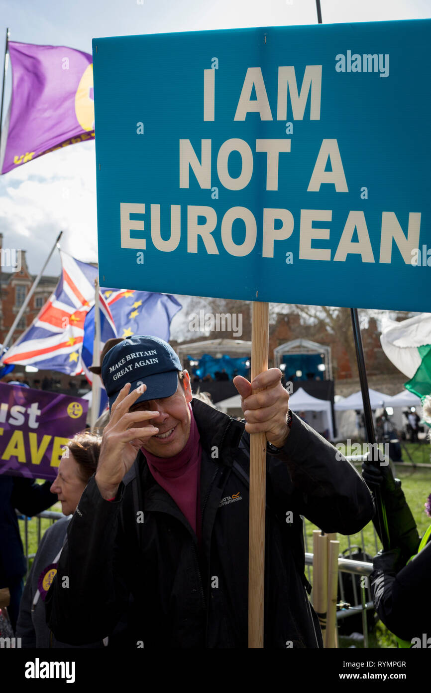 On the day that MPs in Parliament vote on a possible delay on Article 50 on EU Brexit negotiations by Prime Minister Theresa May, Brexiteer Leavers who is not a Eropean protests on College Green, on 14th March 2019, in Westminster, London, England. - Stock Image