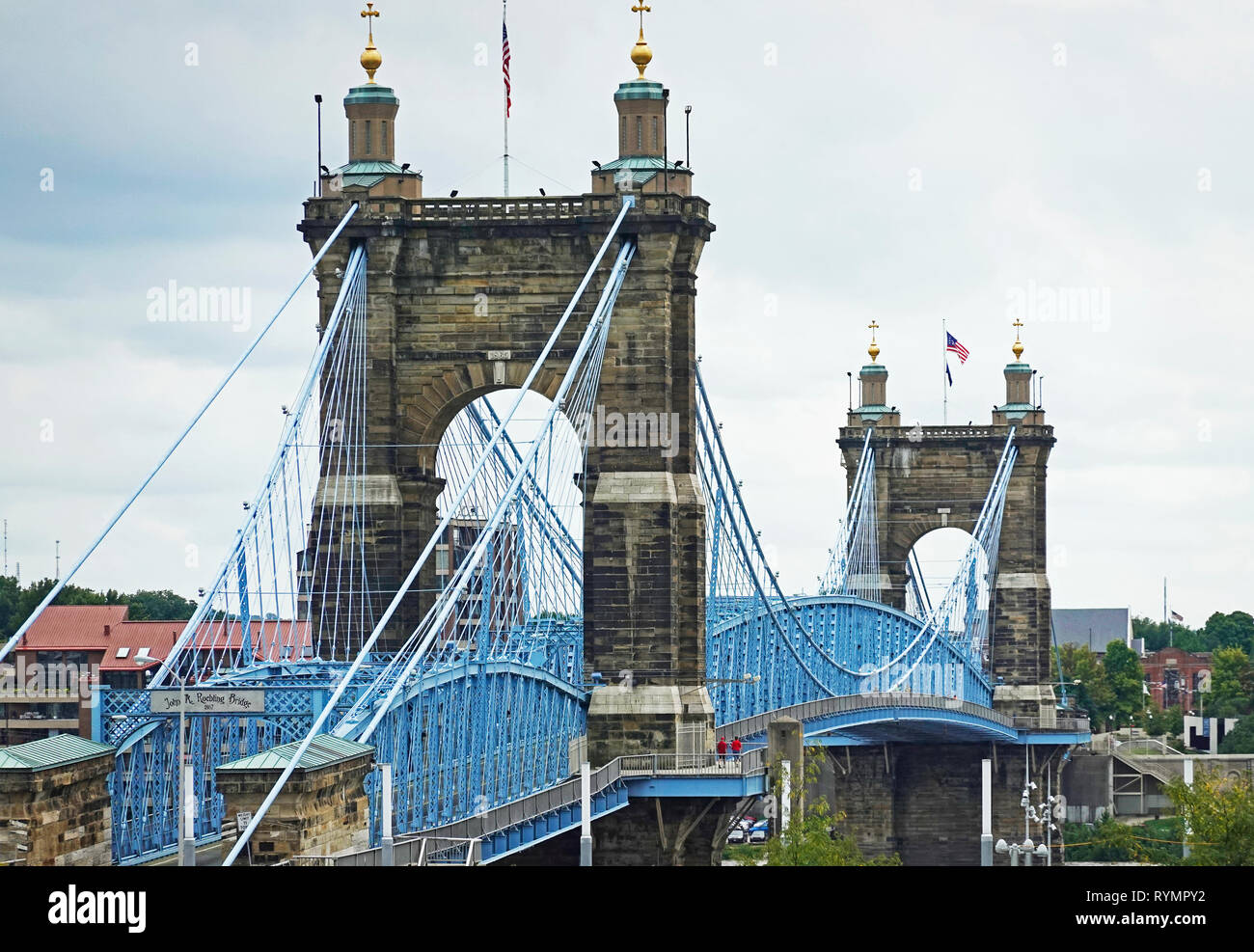 John A Roebling suspension bridge Cincinnati OH - Stock Image