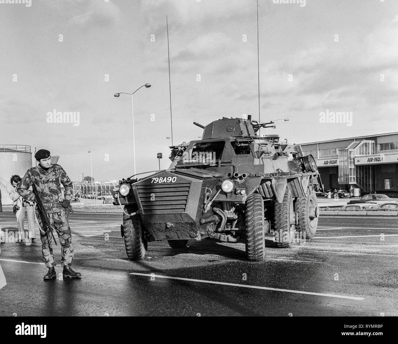 Armed troops move into guard London's Heathrow Airport  in 1974 during a rise in activity by the Irish Republican army on mainland Britain. - Stock Image