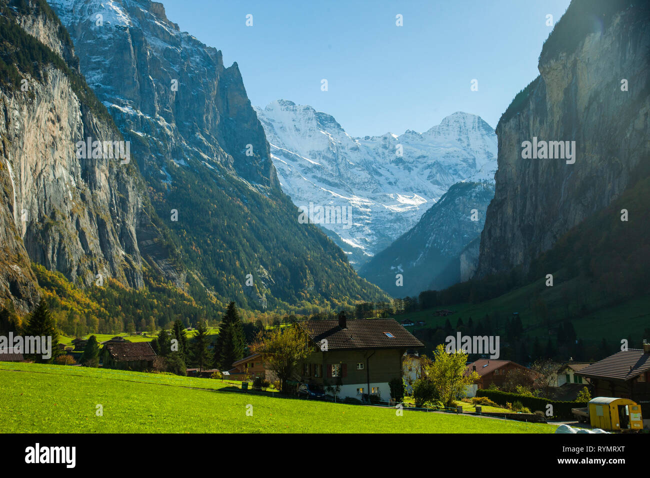 Autumn afternoon at Lauterbrunnen Valley in the Swiss Alps. - Stock Image